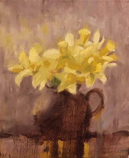 #17 Daffodils in a Brown Jug